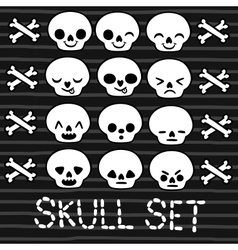 Cute emotion skull set for halloween design vector