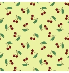 Seamless pattern two ripe cherry with leaves vector