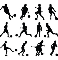 Kid play soccer vector