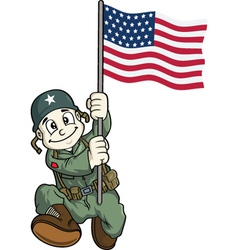 Soldier holding usa flag vector