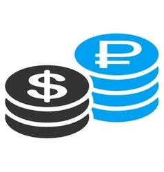 Rouble and dollar coins icon vector
