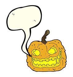 Cartoon spooky pumpkin with speech bubble vector