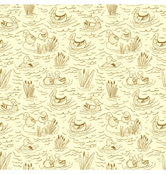 Doodle seamless pattern with ducks and reed vector