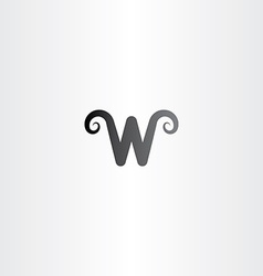Black logo icon letter w symbol element vector