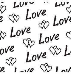 black love hearts and handwritten lettering love vector image