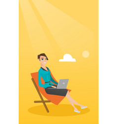 Businesswoman working on laptop at the beach vector