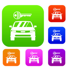 Car and key set collection vector