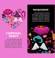 Carnival masquerade party poster of masks and vector