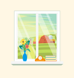 cartoon windows farm landscape view vector image