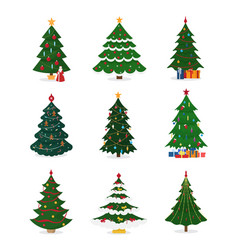 christmas new year tree icons with ornament vector image vector image