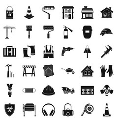 Construction shield icons set simple style vector