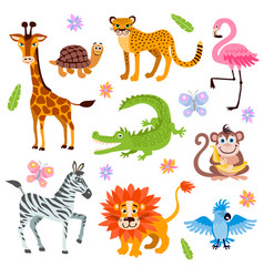 Cute jungle and safari animals set for kids vector