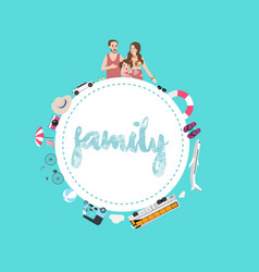 Family mom dad and kids travel transportation vector