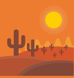 Flat cartoon desert sunset landscape background vector