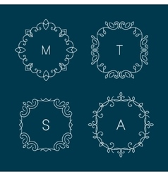 Floral outline frames and borders vector