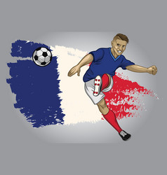 France soccer player with flag background vector