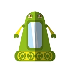 Green robot technology innovation shadow vector