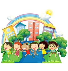 Happy children running in group vector image vector image