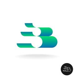 Letter b logo elegant color 3d stripes style wide vector