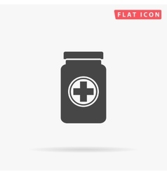 Medicine bottle simple flat icon vector