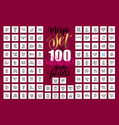 mega set of 100 hand lettering valentines and vector image
