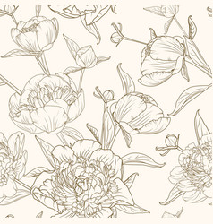 peony flowers seamless pattern brown beige sepia vector image vector image