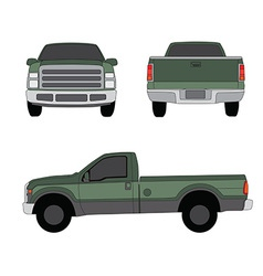 Pick-up truck green three sides view vector image vector image