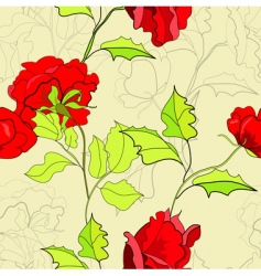 seamless wallpaper with red roses vector image