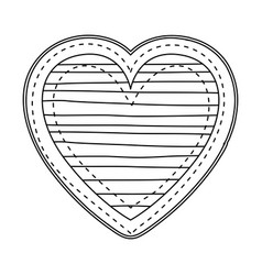 Silhouette heart shape with lines pattern vector