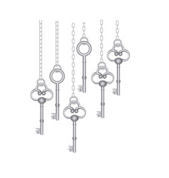 Silver old keys hanging icon vector
