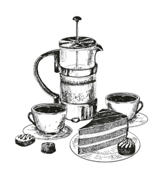Teapot cup and chocolate cake vector