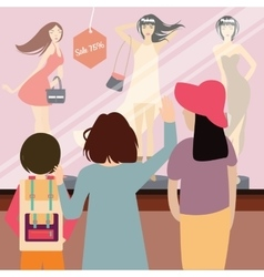 woman and kids standing in front of sale item vector image vector image