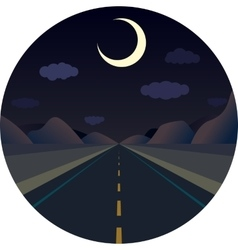 Night straight road forward in the mountains vector