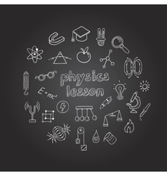 Physics Hand Drawn Icons Collection vector image