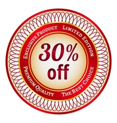 Label on 30 percent discount vector