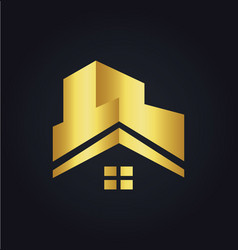 House roof construction building gold logo vector