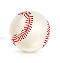 Baseball leather ball close-up isolated on white vector