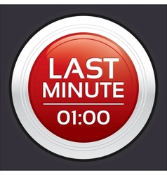 Last minute sale button round sticker vector