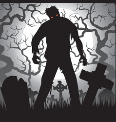 Zombie and tombstones vector