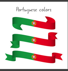 Set of three ribbons with the portuguese colors vector
