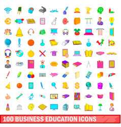 100 business education icons set cartoon style vector image