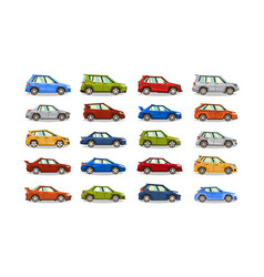 big set of cars collection vehicle sedan vector image