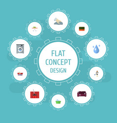 Flat icons clothes washing laundry laundromat vector