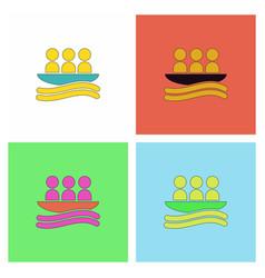 rafting kayaking team design set vector image