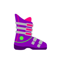 Flat style skiing snowboarding boot side view vector