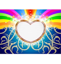 Glossy heart marquee with colorful stars vector
