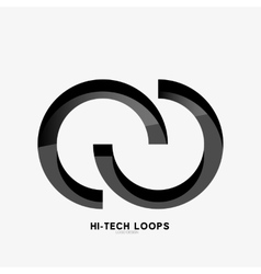 Black loops abstract symbol logo vector