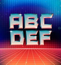 80s Retro Futuristic Font from A to F vector image