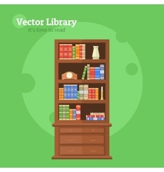 Bookcase with books vector