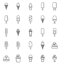 Ice cream line icons on white background vector